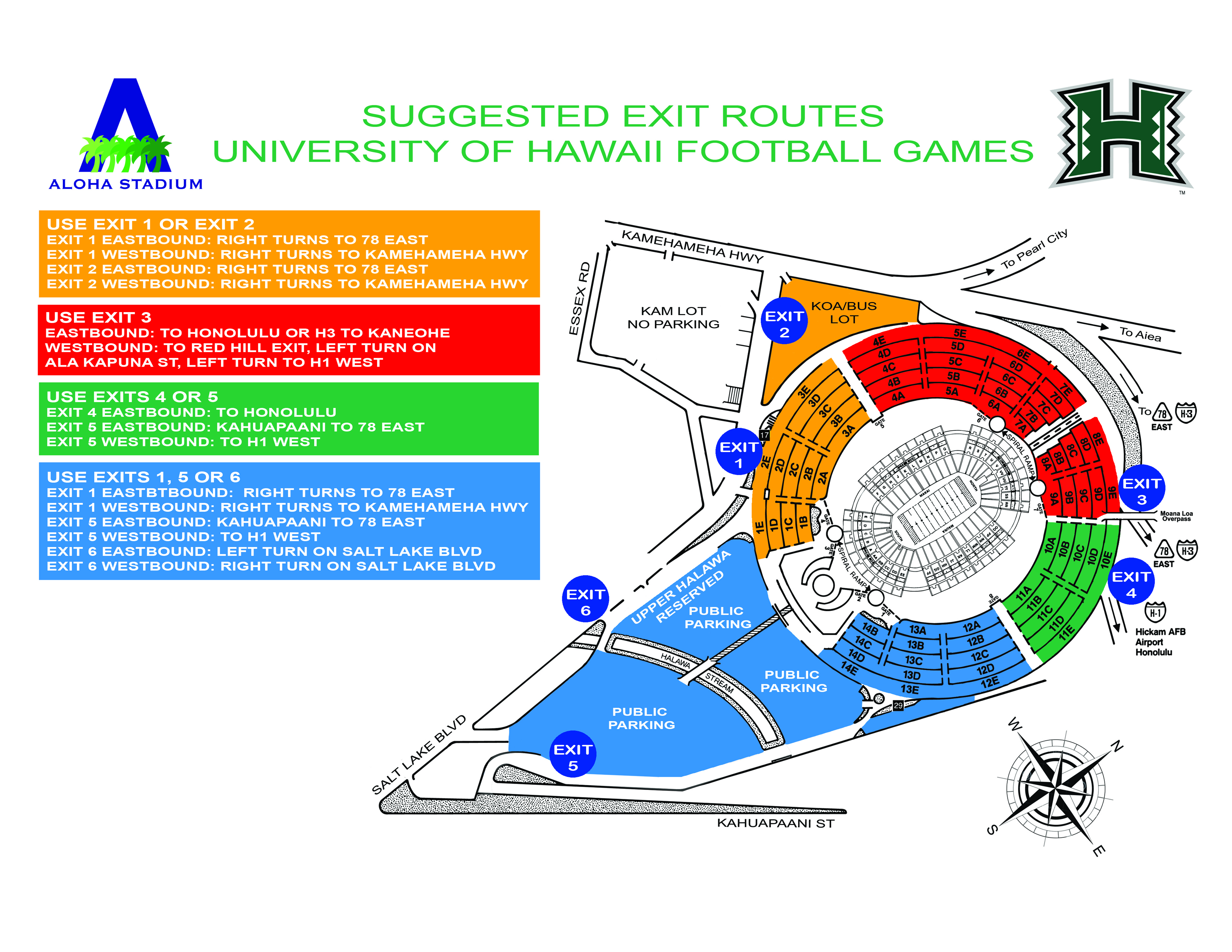 UH GAME DAY EXIT MAP