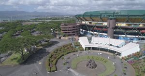 Exterior aerial photo of Aloha Stadium