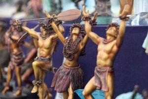bronze hula dancer statues on display