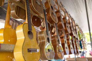 ukuleles on display