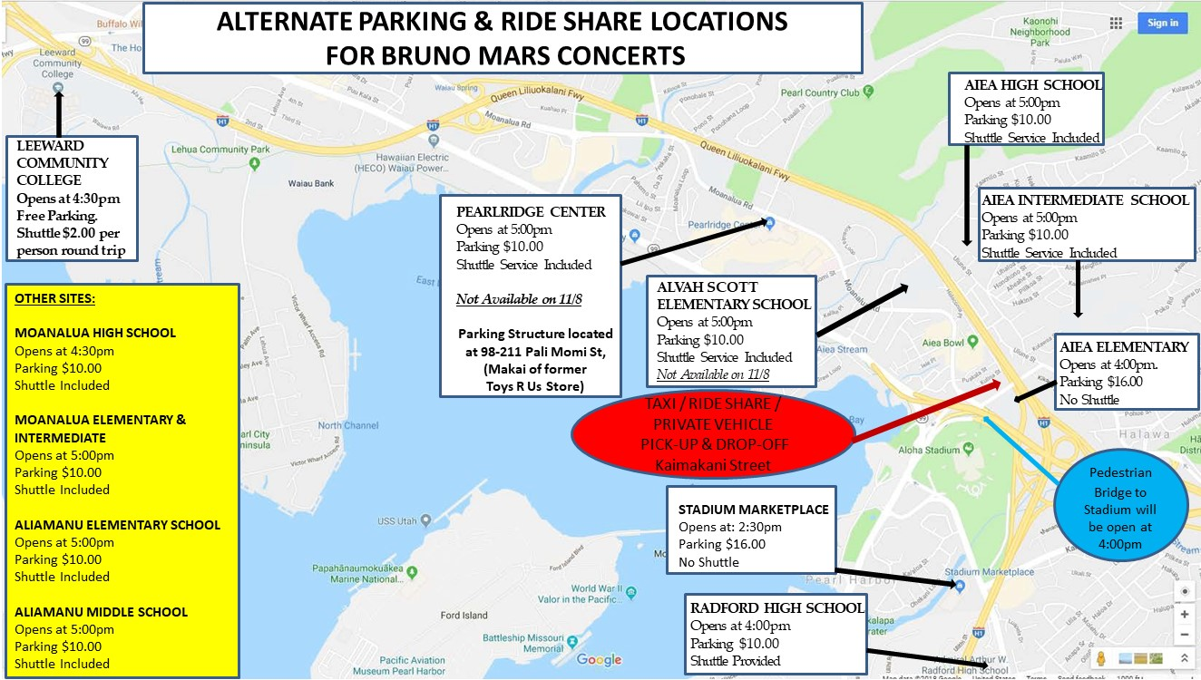 Locations Of Alternate Parking Sites Map