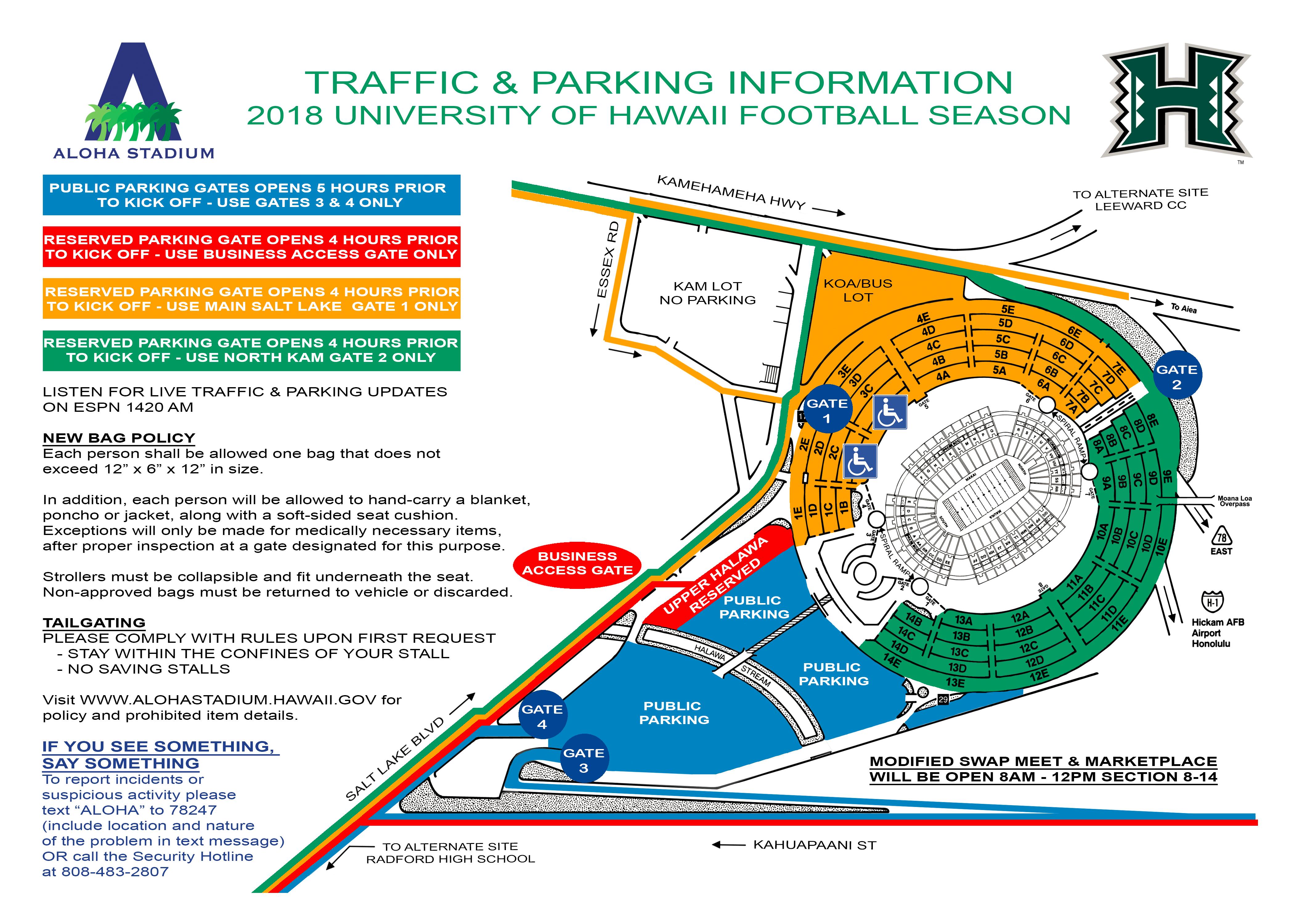 University of Hawaii Aloha Stadium Entrance Parking map