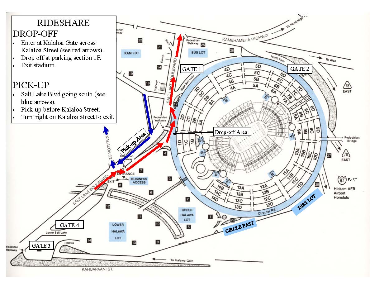 Aloha Stadium parking map with ride share locations