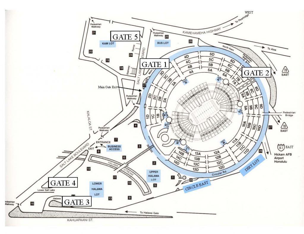 aloha stadium parking map with gate numbers