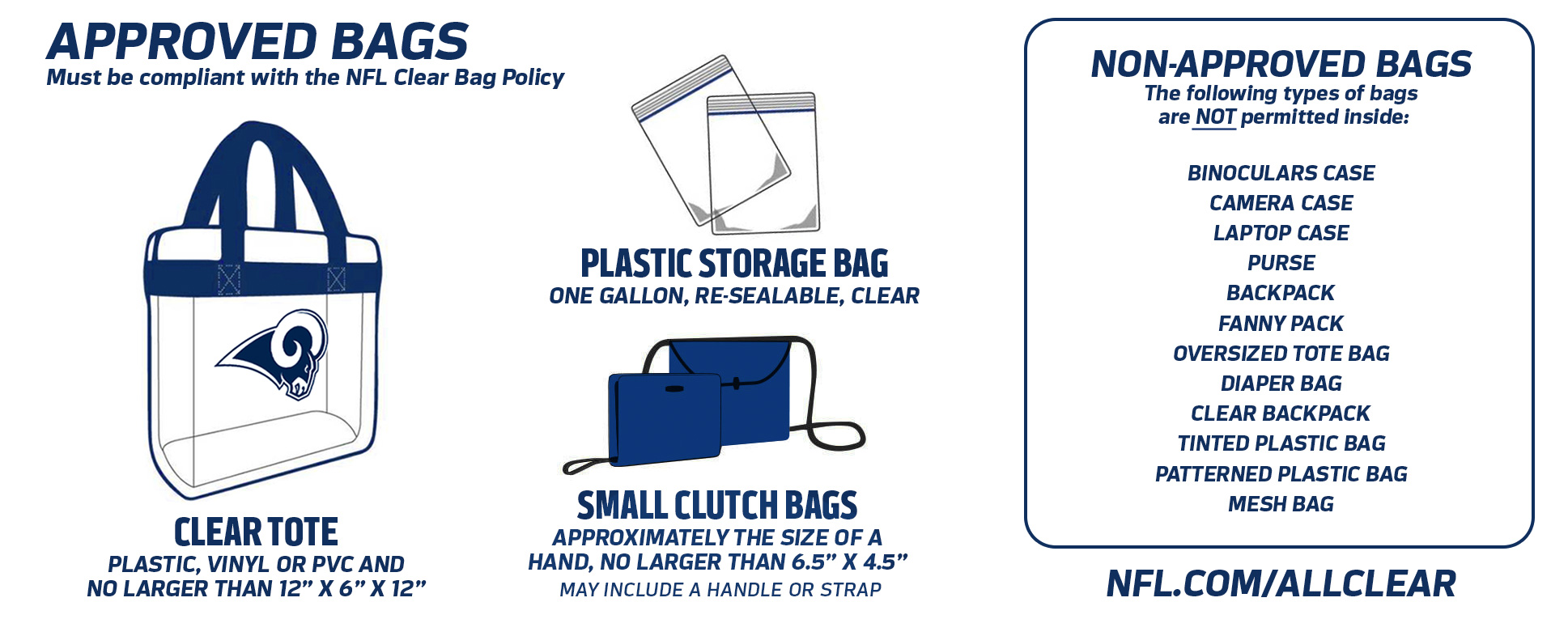 NFL clear bag policy graphics