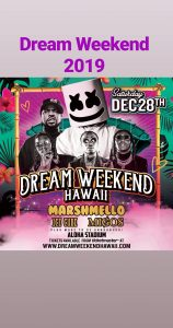 Dream Weekend Festival 2019 event flyer featuring Ice Cube, Marshmello, Migos