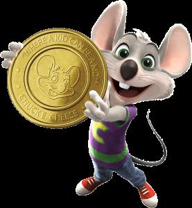 chuck e cheese logo with gold coin